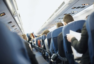 View of rows of seats in airplane