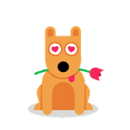 illustration of a dog sitting with a flower in mouth
