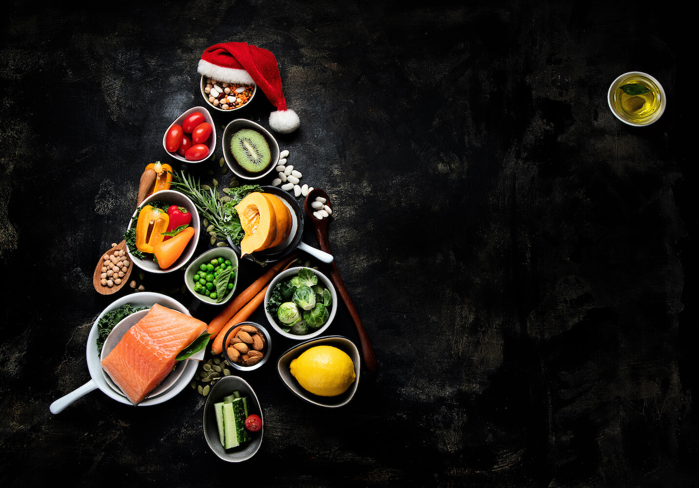 Holiday food pyramid in the shape of a tree