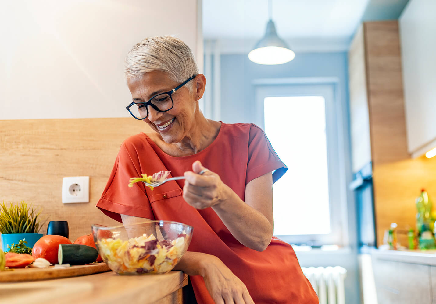 Woman enjoying a nutritious salad